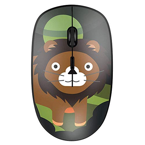 Nulaxy 2.4G Ergonomic Wireless Mouse, Portable Mobile Computer Mouse Optical Mice with USB Receiver, 3 Adjustable DPI Levels, can for Gaming, Best for Notebook, PC, Laptop, Computer, MacBook (Cute Lion)