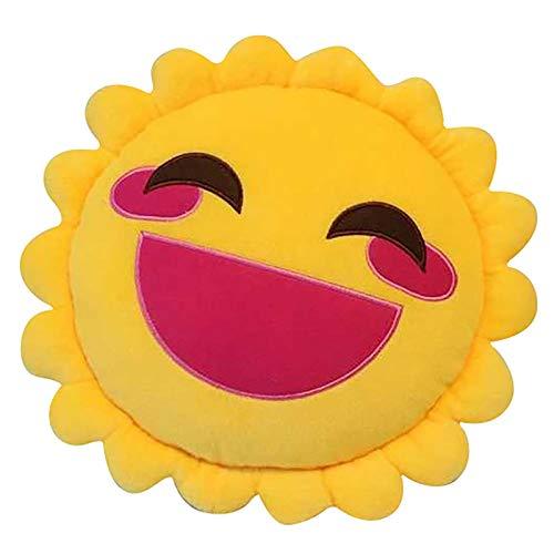 FKIHK SitzkissenNiedliche Cartoon Sun Smiley Face Sofakissen Kissen 40cm Plüsch Sitzkissen Hauptkissen Dekoration, gelb