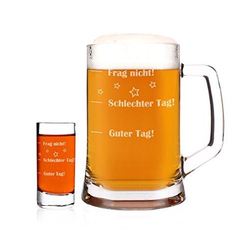 Herz & Heim® Bierkrug und Schnapsglas im Set - Guter Tag - Schlechter Tag - Frag nicht! - als lustige Geschenkidee
