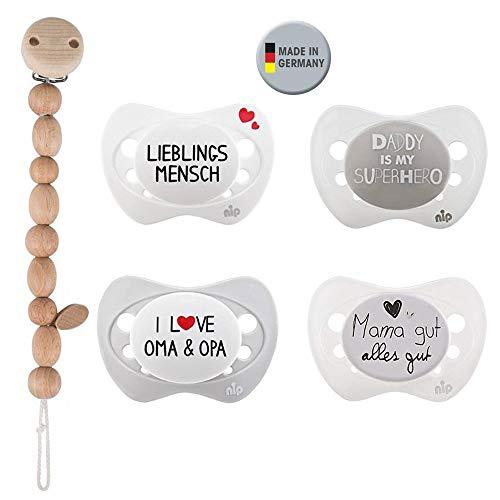 NIP Silikon Beruhigungssauger // Limited Edition // Schnuller Gr.1 0-6 Mo // 4er Set // inkl. 4 Schutzhaube & HEIMESS Holz Schnullerkette Perlen natur