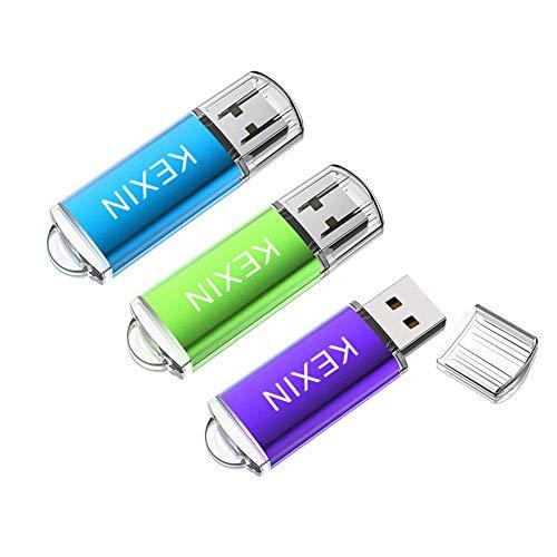 KEXIN 32GB Chiavetta USB 2.0 [3 Pezzi] PenDrive Memoria Stick Pennetta USB Flash Drive con Cap Archivio Dati USB Stick per PC, Notebook, Laptop Auto TV (Blu Verde Viola)