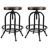 Signature Design By Ashley - Valebeck Tall Swivel Barstool - Set of 2 - Casual Style - Black/Brown