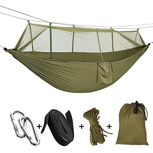 Sooair Hamac d'extérieur de Camping, 260 x 140cm Ultra léger Hamac de Camping, hamac de Jardin Portant 300kg, Hamac de Voyage avec 2 x Mousquetons, 2 x Sangles de Nylon