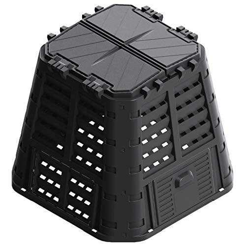 vidaXL Compostiera da Giardino Composter Biocompostiera Organico Bidone Contenitore per Umido Riciclo Compostaggio Esterno Nera 480 L