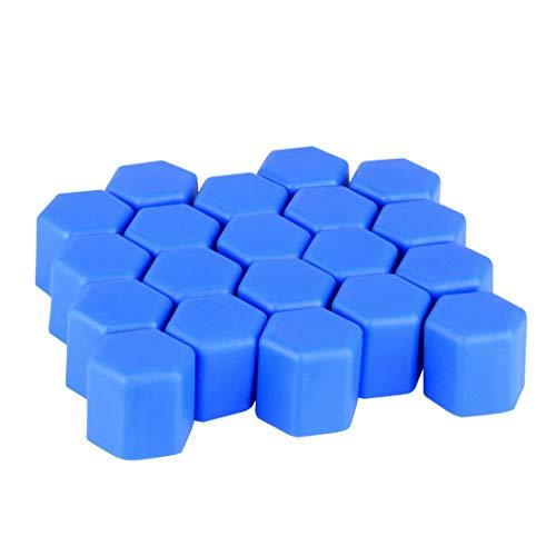 Gebildet 20pcs 17mm Blau Silikon Auto Fahrzeug Radmutter Lug Nabenabdeckungen Schraube Staubschutzkappen