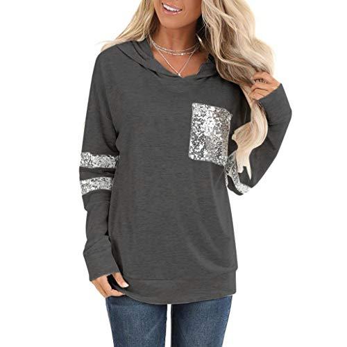 Frauen Winter Sweatshirt,Evansamp Leopard-Farbblock-Tunika Der Dame Bequemer Streifen-Hoodie-Rundhals-Sweatshirt-Lose Oberseiten(Black1,L4)