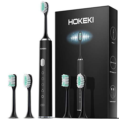 Cepillo de dientes eléctrico Sonic recargable con 4 cabezales Dupont, cepillo de dientes ultrasónico impermeable para adultos con 5 modos y temporizador inteligente por HOKEKI