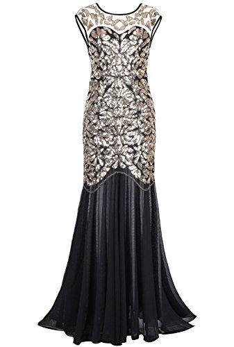 PrettyGuide Damen 1920s Schwarz Pailletten Gatsby Bodenlangen Abendkleid , Gold , 36-38...