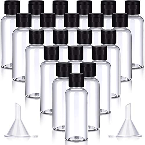 20 Stücke Leere Plastik Flaschen Klare Reise Flaschen Behälter Tragbare Nachfüllbare Flip Cap Flasche mit 2 Stücke Mini Trichtern für Flug Flughafen Reisen Outdoor Zubehör