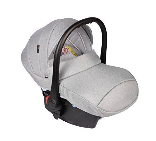 Clamaro Babyschale Auto 'JUNO black' ultraleicht 2,95 kg mit Anti-Shock Schaumstoff, Gruppe 0+ (0-13 kg) ECE-R 44/04 - Baby Autositz inkl. Sonnenverdeck und Fußabdeckung - Hellgrau Leinen