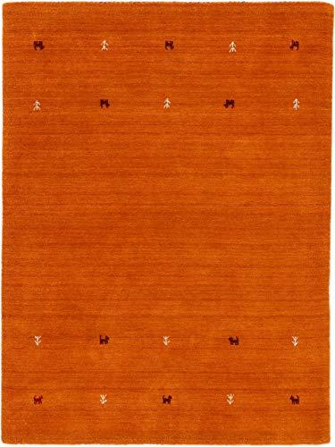 carpetfine Wollteppich Gabbeh Uni Orange 200x290 cm | Moderner Teppich für Wohn- und Schlafzimmer