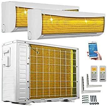 A++/A++ DuoSplit WiFi/WLAN Steuerung Golden-Fin 2,6 + 3,5 kW 9000+12000 BTU MultiSplit Klimaanlage INVERTER Klimagerät und Heizung