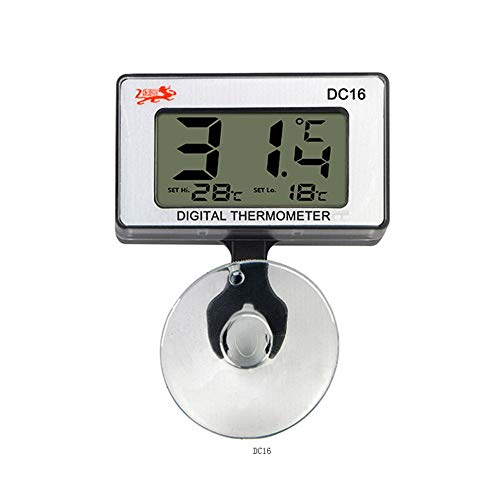 JZK digitale aquarium thermometer met alarm zuignap batterij, LCD-display voor terrarium, aquarium en vivarium