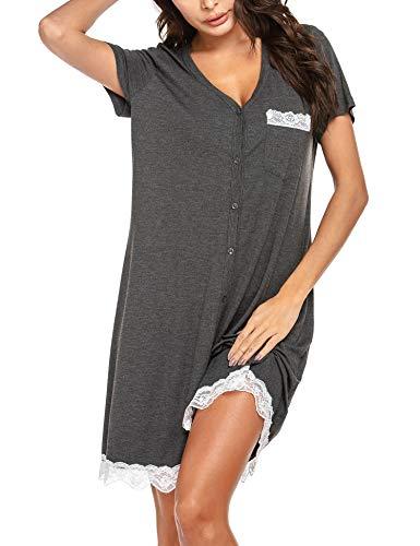 Ekouaer Women's Nightgown Cotton Sleep Shirt V Neck Short Sleeve Loose Comfy Pajama Sleepwear