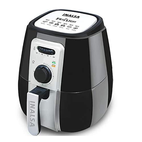 Inalsa Air Fryer Fry-Light-1400W with 4.2L Cooking Pan Capacity, Timer Selection and Fully Adjustable Temperature Control, (Black/Silver)