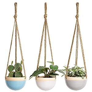 Mkono 4.5 Inch Ceramic Hanging Planter Set of 3 Colorful Flower Plant Pots Round Plant Holder with Jute Rope Hanger for Indoor Succulent Herbs Ivy Ferns Crawling Plants, Blue, White and Gray