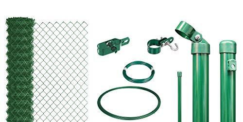 GAH-Alberts, grün 633271 Maschendrahtzaun als Zaun-Komplettset, zum Einbetonieren wahlweise in verschiedenen Farben | kunststoffbeschichtet, Höhe 150 cm | Länge 25 m