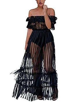 XAKALAKA Women s Sexy Lace Off Shoulder High Wasit Flared Mesh Club Maxi Dress Beach Cover Up Black XL