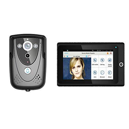 COUYY Video inalámbrico WiFi de 7 Pulgadas Video inalámbrico Intercomero de la cámara IP de la cámara IP Visión Nocturna infrarroja Sistema de Alarma para el hogar
