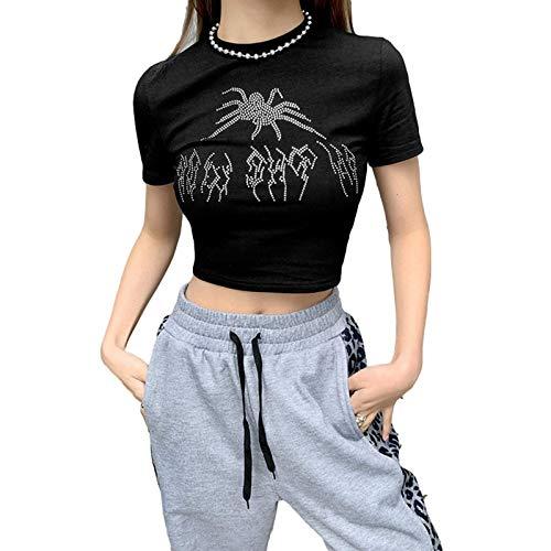 Cslada Camisetas Negras con gráfico de araña de Diamantes de imitación Vintage...