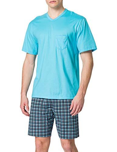 CALIDA Herren Relax Imprint kurz Pyjamaset, Button Blue, 52-54