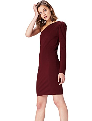 Amazon-Marke: find. Damen One Shoulder-Kleid, Rot (Tawny Port), 34, Label: XS