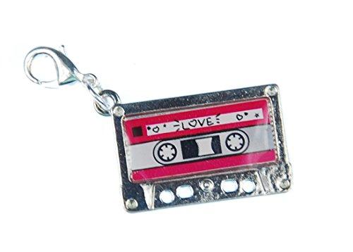 Miniblings Kassette MC Tape Charm Musik Zipper Pull Mixtape Silber rosa - Handmade Modeschmuck I Kettenanhänger versilbert - Bettelanhänger Bettelarmband - Anhänger für Armband