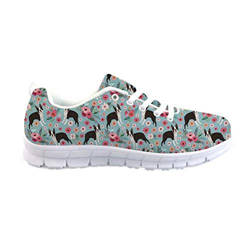 Xinind Women Sneakers Cute Dog Boston Terrier Design Shoe Lightweight Outdoor Road Running Sports Shoes for Women Fashion Pattern