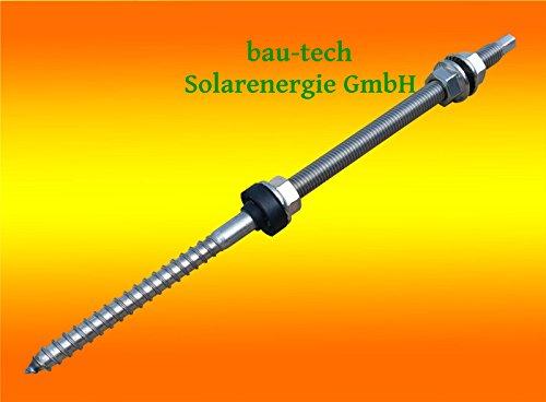 10 Stück Stockschraube Edelstahl A2, M12 x 300 mit Sechskant - Kopf Antrieb von bau-tech Solarenergie GmbH