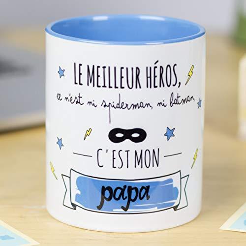 Nos pensées - Tasse avec Message et Dessin Amusant (Le héros, ce n'est ni Spiderman, ni Batman, C'est Mon Papa) Cadeau Original pour Un Papa
