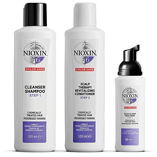 NIOXIN - Kit de 3 pasos - Tratamiento para Cabello Tratado con Químicos muy Debilitado y Pérdida de Densidad (Champú 300 ml - Acondicionador 300 ml - Tratamiento 100 ml) - Sistema 6