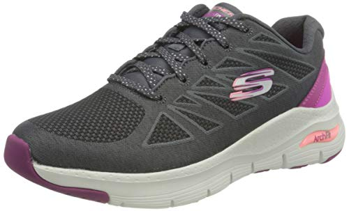 Skechers Arch Fit-She's Effortless, Zapatillas Mujer, Gris (CCPK Black Mesh/Multi Trim), 39 EU