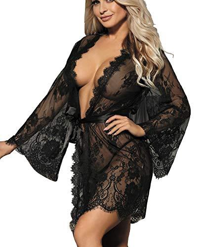 marysgift Damen Kimono Spitzen Robe Transparent Reizwäsche Nachtwäsche Morgenmantel Bademantel Dessous Set mit G-String Gürtel große größen 3XL 44 46