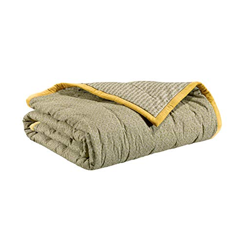 Vivaraise - Jeté de lit - Couvre-lit - Couverture lit - Drap lit - Jeté de lit décoration - 240 x 260 - Enveloppe 100% Coton Garnissage Polyester - Absynthe Vert - Tara