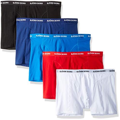 Björn Borg Heren Solid Boxer Shorts Briefs Ondergoed Katoen Stretch 5 Pc