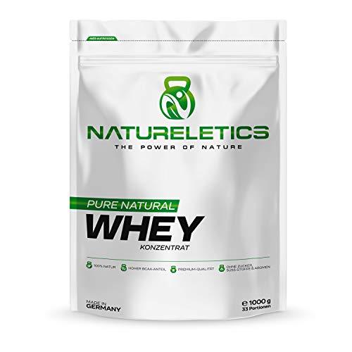 NATURELETICS 1kg natürliches, Premium Whey Proteinpulver aus Deutschland, neutral, ohne Zusatz von Zucker, Süßstoffen und Aromen, Eiweißpulver mit hohem BCAA Anteil von 22%, Geschmacksneutral