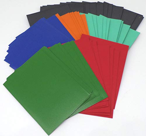 docsmagic.de 5 x 100 Premium Bi-Color Card Sleeves Mat Dark Blue Green Red Orange Mint / Black Standard Size 66 x 91 Fundas Negra