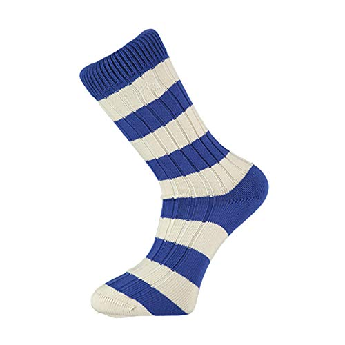 Blue and White Striped Socks, Perfect Gifts for Fans of Football Teams Such As Chelsea, Everton, Birmingham City, Portsmouth, Sheffield Wednesday, and More, Size UK 7-11