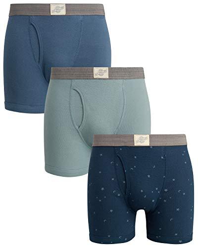 Lucky Brand Men#039s Cotton Boxer Briefs 3 Pack Blue/Navy/Light Blue Size Medium#039