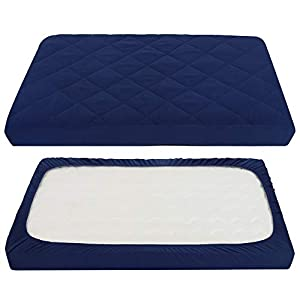 crib bedding and baby bedding tillyou cloudy soft pack and play sheet quilted, breathable thick play yard playpen sheets, 39''×27''×5'' fit mini/portable crib mattress pad pack n play mattress pad, navy blue