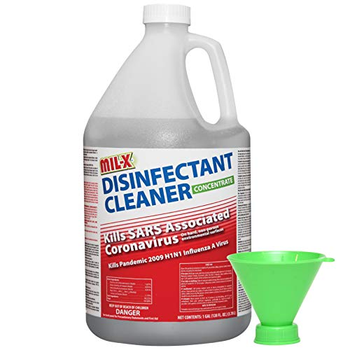 Mil-X Disinfectant Super-Concentrate Makes 256 Quarts of Ready to Use Spray, All-Purpose EPA Registered Cleaner for Household and Commercial, 128oz with Funnel