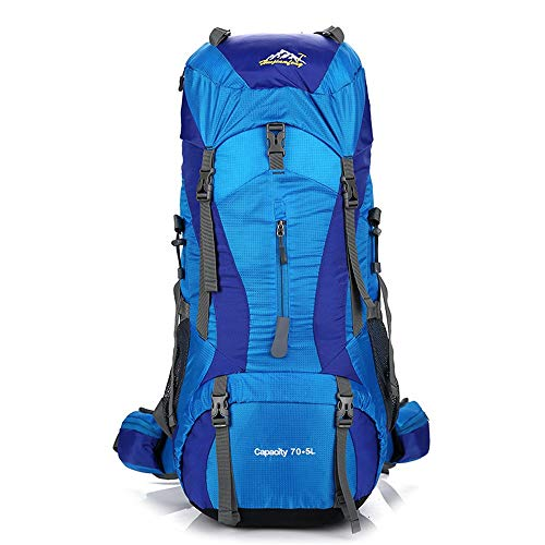 Yamyannie Riding Backpack Adjustable Strap Waterproof Hiking Backpack Suitable For High-performance Hiking Camping (Color : Dark blue, Size : 77 * 31 * 27cm)
