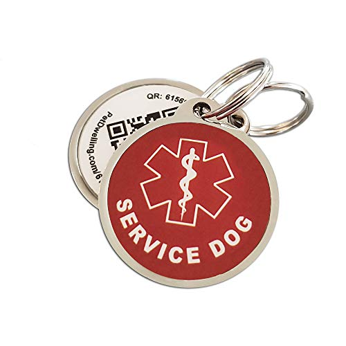 PetDwelling Service Dog QR Code Pet ID Tag Links to Online Profile w/Google Location Stamp (Red 2D)