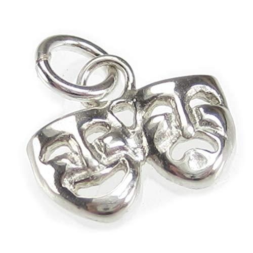 Charm-Anhänger mit Drama-Masken, Sterling-Silber 925, 1 Stück