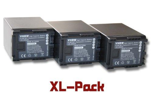 vhbw 3 x Li-Ion batería 2400mAh (7.2V) para videocámara cámara de Video Canon Legria HF M41, HF M46, HF M406, XA10 por BP-827