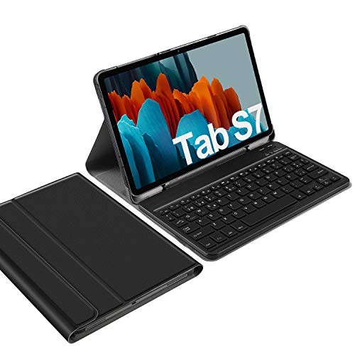 IVSO Español Ñ Teclado para Samsung Galaxy Tab S7, para Samsung Galaxy Tab S7 11.0 Teclado, Funda con Removible Wireless Teclado con Ñ para Samsung Galaxy Tab S7 (SM-T870/875) 11 2020, Negro