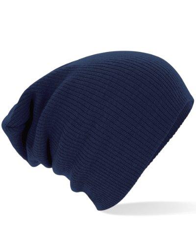 Beechfield Slouch Beanie Bonnet en tricot - Bleu - Taille Unique