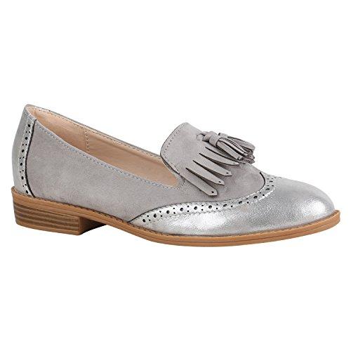 stiefelparadies Damen Schuhe Slippers Tassel Loafers Quasten Elegante Slip Ons 156840 Grau Fransen 37 Flandell