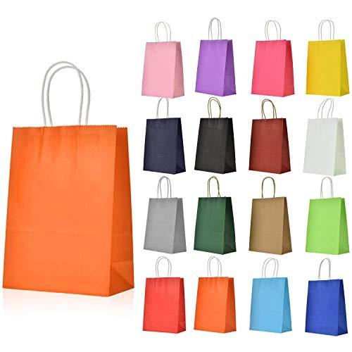 Bolsas de Papel con Asa, 16 Piezas Bolsas Papel Kraft Multicolor, Bolsas Regalo para Niños Regalos Boda Cumpleaños Navidad Fiesta Compras Alimentos (16 Multicolor)