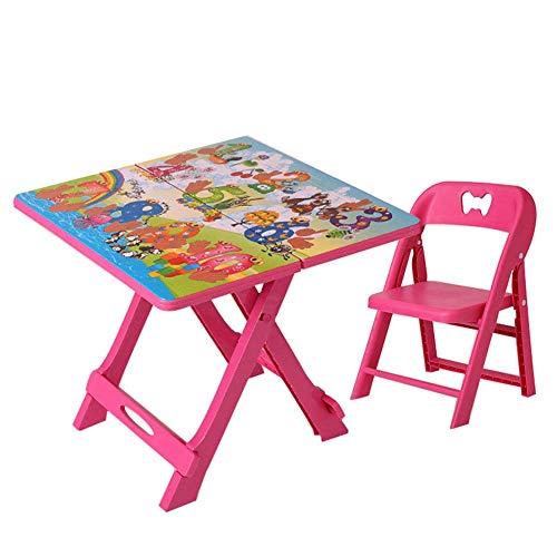 genral Mesa Plegable para niños con Silla, Mesa de Actividades de plástico portátil para niños pequeños, Mesa de Picnic para jardín al Aire Libre para niños y niñas